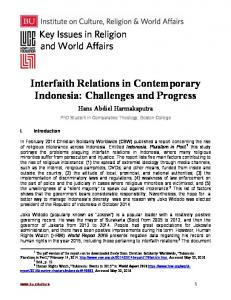 Interfaith Relations in Contemporary Indonesia: Challenges and Progress