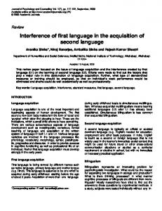 Interference of first language in the acquisition of second language