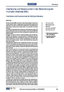 Interferone und Natalizumab in der Behandlung der multiplen Sklerose (MS)