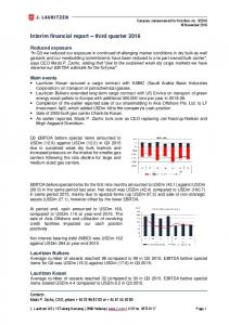 Interim financial report third quarter 2016