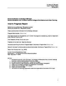 Interim Progress Report