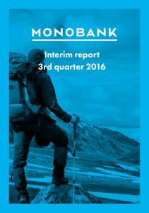 Interim report 3rd quarter 2016