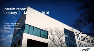 Interim report January 1 March 31, 2016