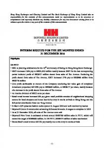 INTERIM RESULTS FOR THE SIX MONTHS ENDED 31 DECEMBER 2016
