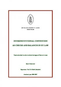 INTERINSTITUTIONAL CONVENTION AS CHECKS AND BALANCES IN EU LAW
