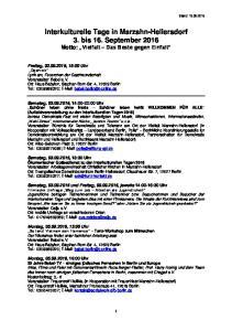 Interkulturelle Tage in Marzahn-Hellersdorf 3. bis 16. September 2016 Motto: Vielfalt Das Beste gegen Einfalt