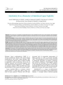 Interleukin-18 as a Biomarker of Subclinical Lupus Nephritis
