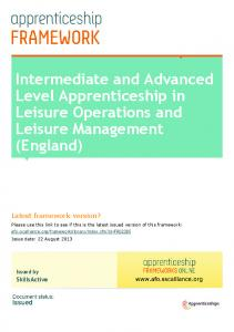 Intermediate and Advanced Level Apprenticeship in Leisure Operations and Leisure Management (England)