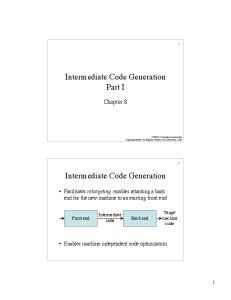 Intermediate Code Generation Part I