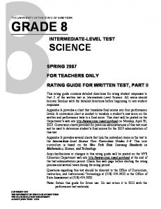 INTERMEDIATE-LEVEL TEST SCIENCE FOR TEACHERS ONLY