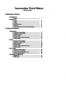 Intermediate World History Table Of Contents