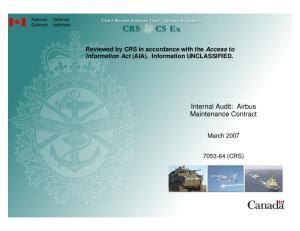 Internal Audit: Airbus Maintenance Contract
