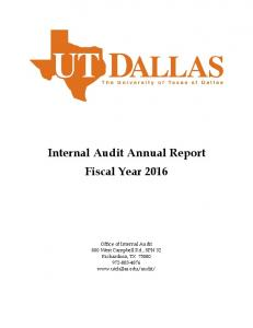 Internal Audit Annual Report Fiscal Year 2016