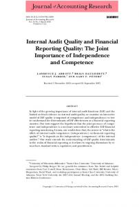 Internal Audit Quality and Financial Reporting Quality: The Joint Importance of Independence and Competence
