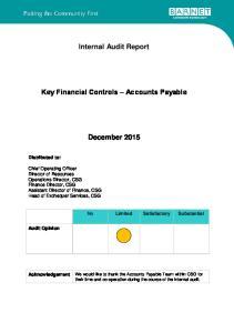Internal Audit Report. Key Financial Controls Accounts Payable. December 2015