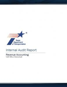 Internal Audit Report. Revenue Accounting TxDOT Office of Internal Audit
