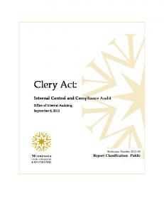 Internal Control and Compliance Audit Report Classification: Public