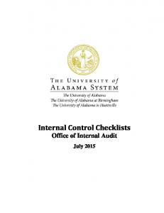 Internal Control Checklists Office of Internal Audit