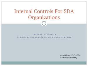 Internal Controls For SDA Organizations