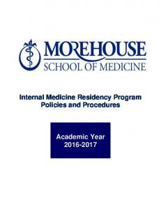 Internal Medicine Residency Program Policies and Procedures