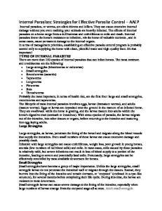 Internal Parasites: Strategies for Effective Parasite Control AAEP