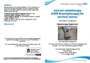 Internal radiotherapy (HDR Brachytherapy) for cervical cancer