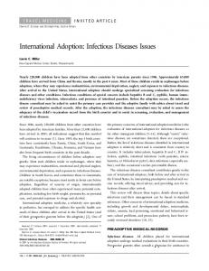 International Adoption: Infectious Diseases Issues