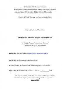 International alliances, mergers and acquisitions
