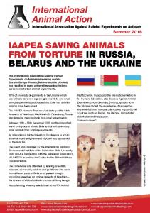 International Animal Action International Association Against Painful Experiments on Animals Summer 2016