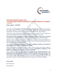 International anticorruption day : 14 anticorruption bodies committed to create the Network for Integrity
