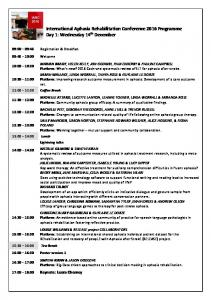 International Aphasia Rehabilitation Conference 2016 Programme Day 1: Wednesday 14 th December