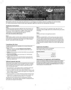 International Application for Admission and Scholarships. Application Instructions Academic Year