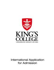 International Application for Admission