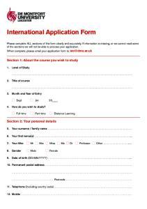 International Application Form