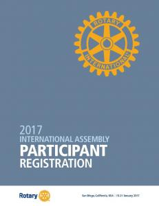 INTERNATIONAL ASSEMBLY PARTICIPANT REGISTRATION. San Diego, California, USA January 2017