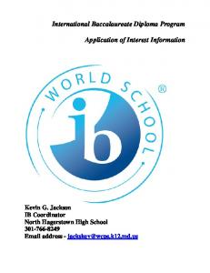 International Baccalaureate Diploma Program Application of Interest Information