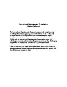 International Baccalaureate Organization Mission Statement