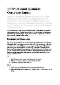 International Business Customs: Japan