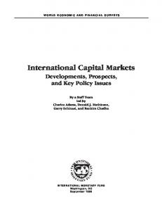 International Capital Markets Developments, Prospects, and Key Policy Issues