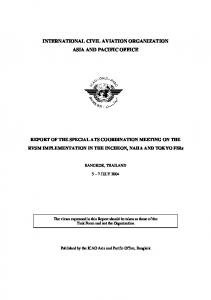 INTERNATIONAL CIVIL AVIATION ORGANIZATION ASIA AND PACIFIC OFFICE