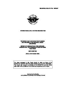 INTERNATIONAL CIVIL AVIATION ORGANIZATION THE MIDDLE EAST AIR NAVIGATION PLANNING AND IMPLEMENTATION REGIONAL GROUP (MIDANPIRG)