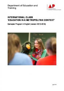 INTERNATIONAL CLASS EDUCATION IN A METROPOLITAN CONTEXT