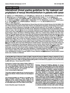 International clinical practice guidelines for the treatment and prophylaxis of venous thromboembolism in patients with cancer