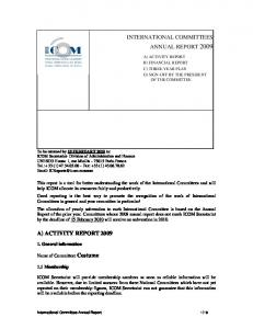 INTERNATIONAL COMMITTEES ANNUAL REPORT 2009