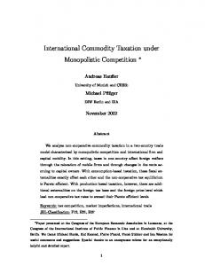 International Commodity Taxation under Monopolistic Competition