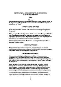 INTERNATIONAL COMMUNITY OF BANYAKIGEZI, INC. A Not-for-Profit Organization. Bylaws ARTICLE I: ORGANIZATION