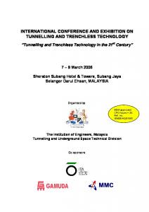 INTERNATIONAL CONFERENCE AND EXHIBITION ON TUNNELLING AND TRENCHLESS TECHNOLOGY