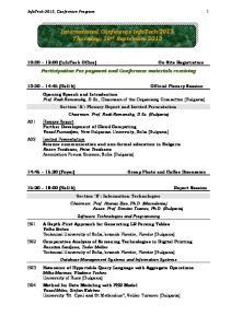 International Conference InfoTech-2013 Thursday, 19 th September 2013
