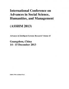 International Conference on Advances in Social Science, Humanities, and Management