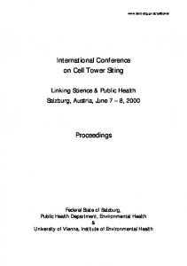 International Conference on Cell Tower Siting. Proceedings